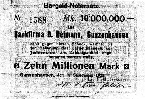 Picture of an inflation banknote for 10,000,000 Marks.