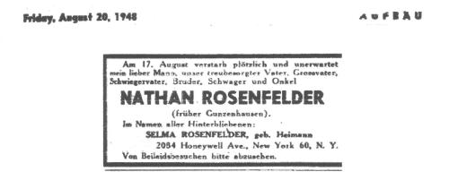 Friday August 20, 1948 – Death notice for Nathan Rosenfelder