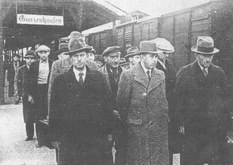 Train Station Gunzenhausen in November of 1938:  Jewish men are deported to Dachau
